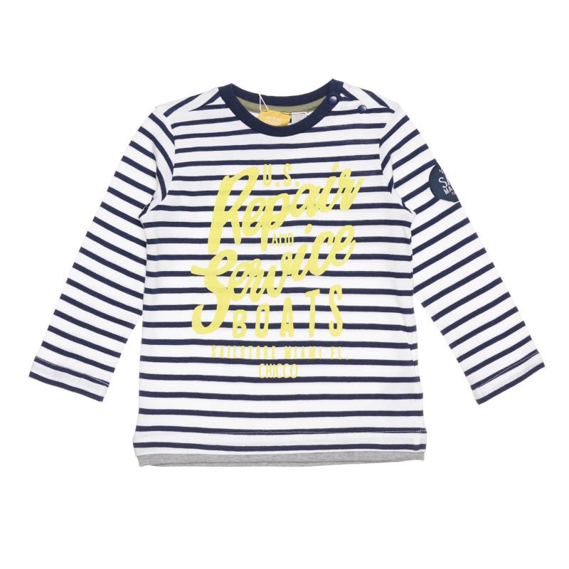 Памучна раирана блуза за бебе в бяло и синьо  267185