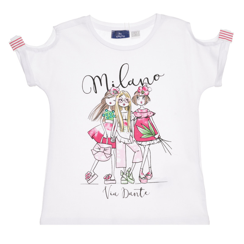 Памучна тениска MILANO, бяла  267196