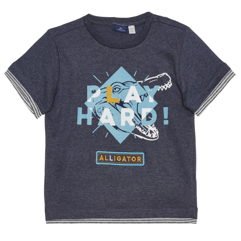 Памучна тениска PLAY HARD, синя  267200