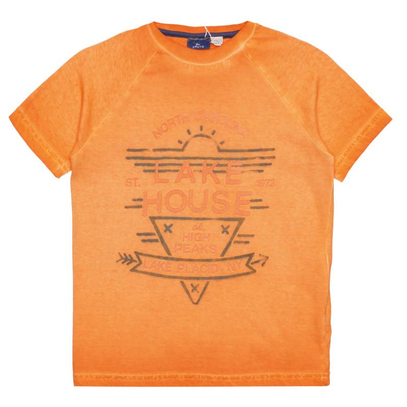 Памучна тениска LAKE HOUSE , оранжева  267204