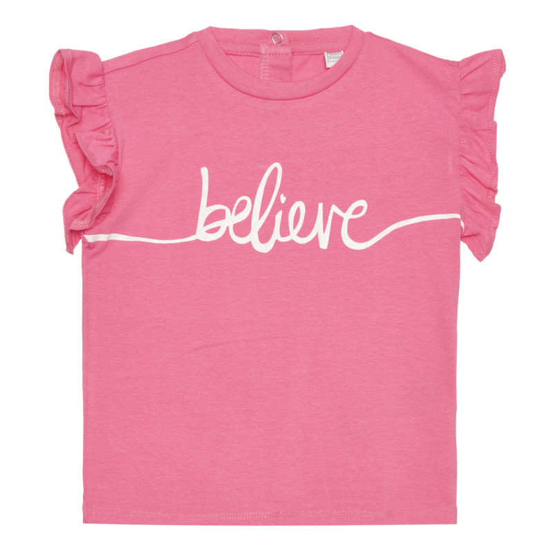 Памучна тениска BELIEVE за бебе, розова  267208