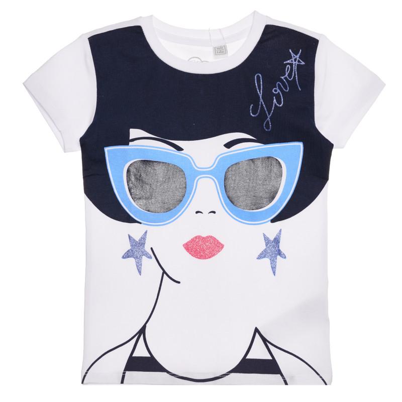 Памучна тениска с принт в бяло и синьо  267212