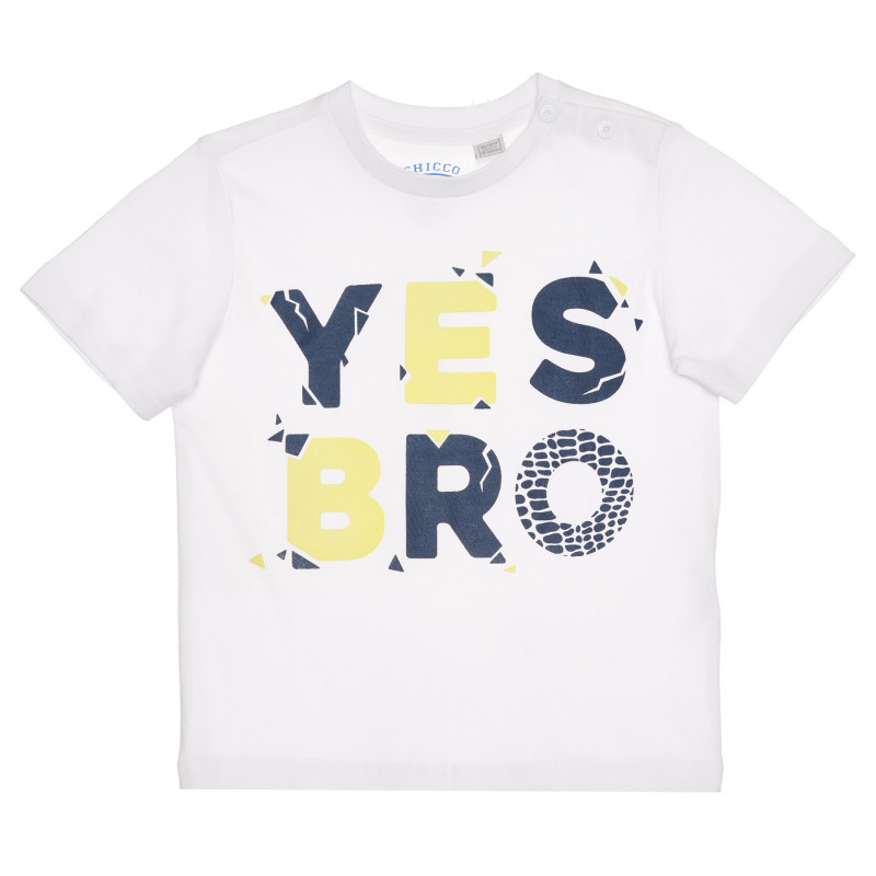 Памучна тениска YES BRO за бебе , бяла  267220