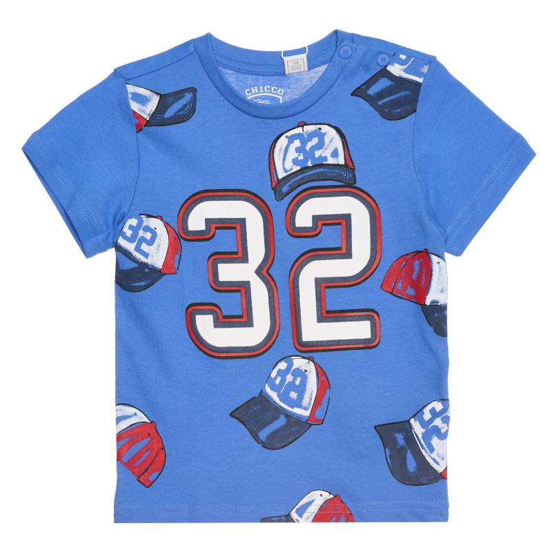 """Памучна тениска """"32"""" за бебе, синя  267224"""