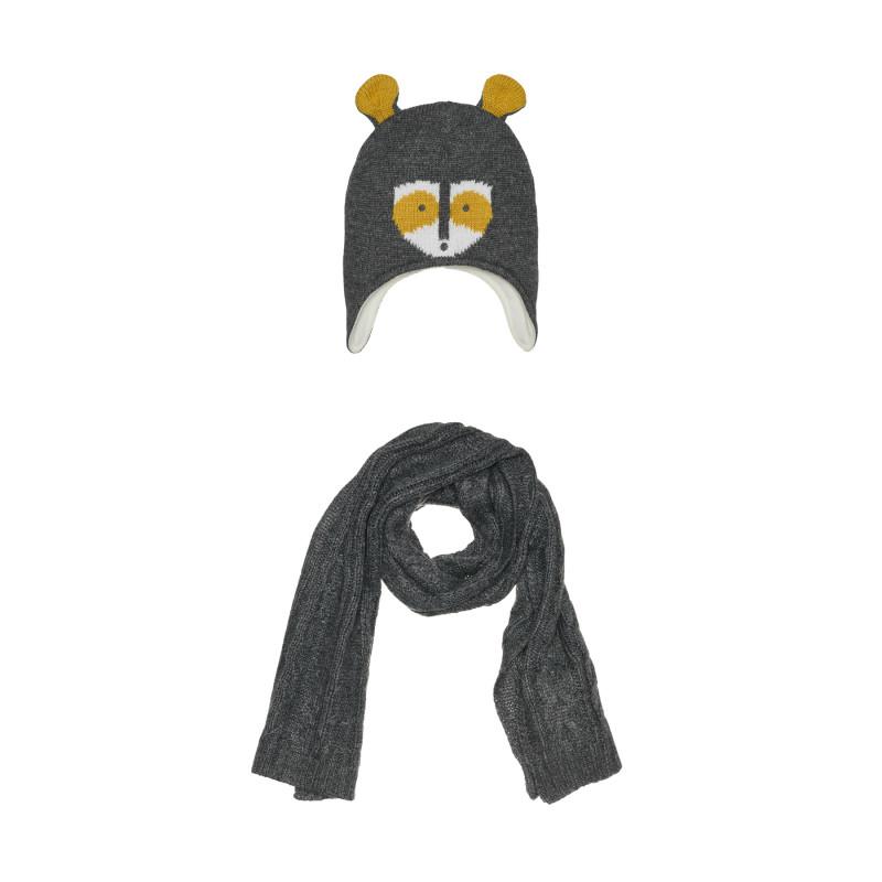 Комплект шал и шапка за момче, сиви  267266