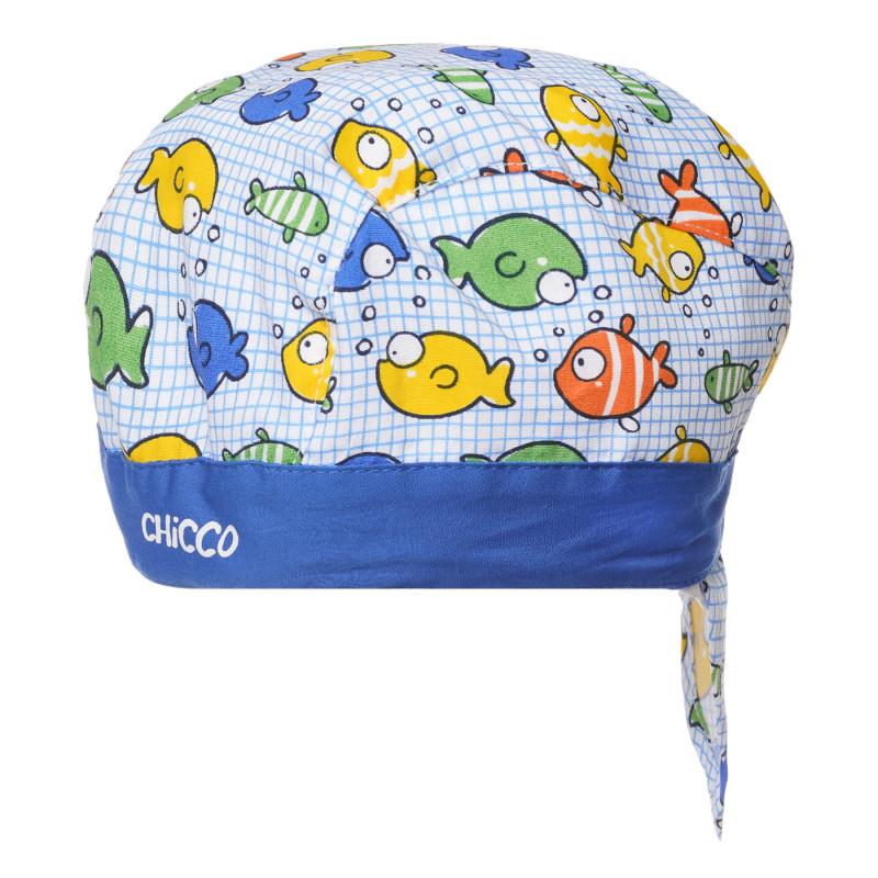 Памучна кърпа за глава за бебе в бяло и синьо  267525