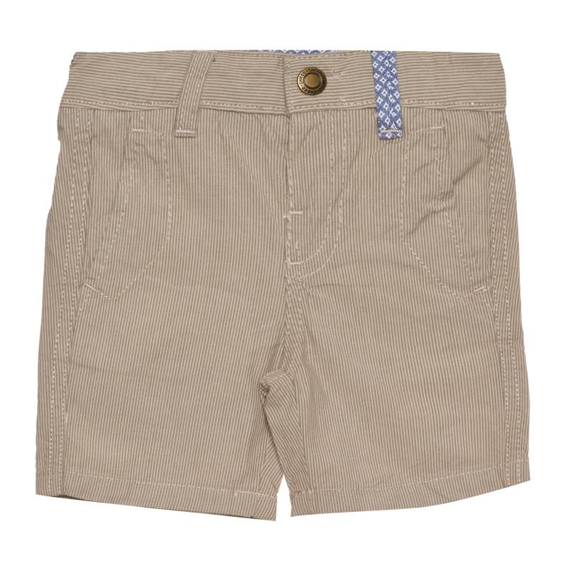 Памучен къс панталон за бебе на райе, бежов  267560