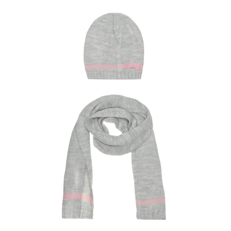 Комплект шал и шапка, сиви  267610
