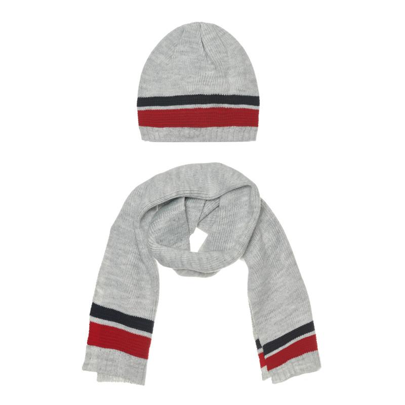 Комплект шал и шапка за бебе, сиви  267617