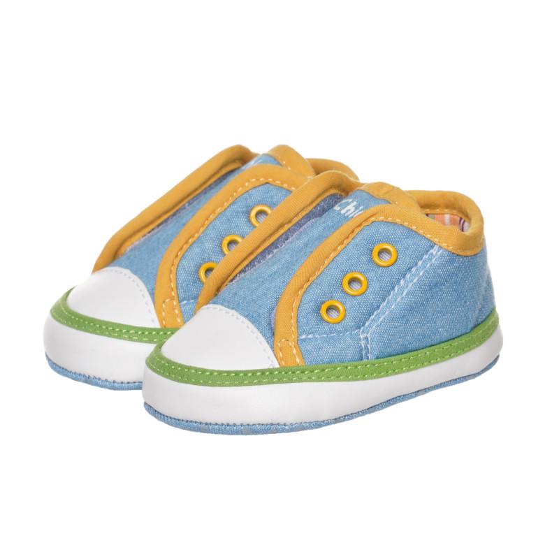 Буйки тип кецове с жълти акценти за бебе, сини  267768
