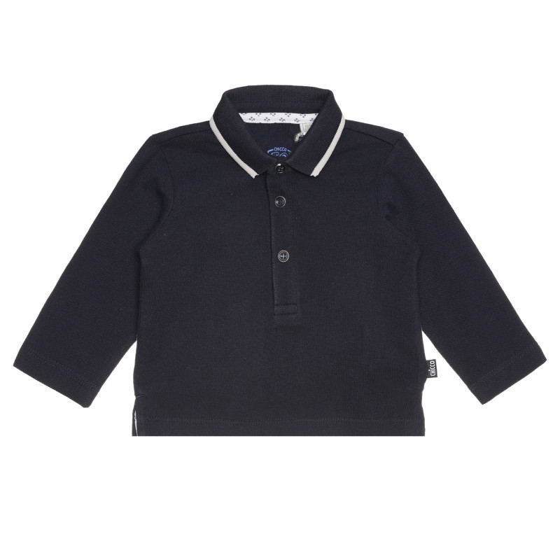 Памучна блуза с яка за бебе, синя  267810