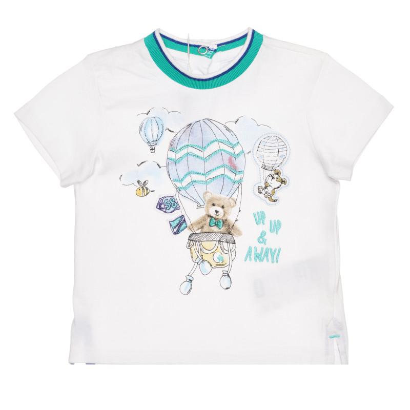 Памучна тениска с мече за бебе, бяла  267829