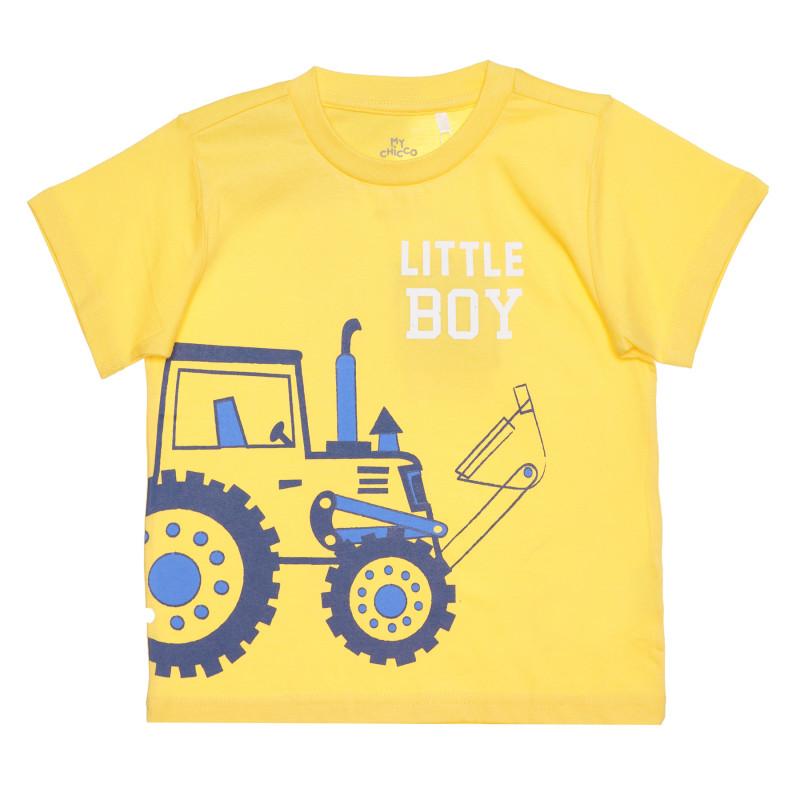 Памучна тениска LITTLE BOY за бебе, жълта  267841