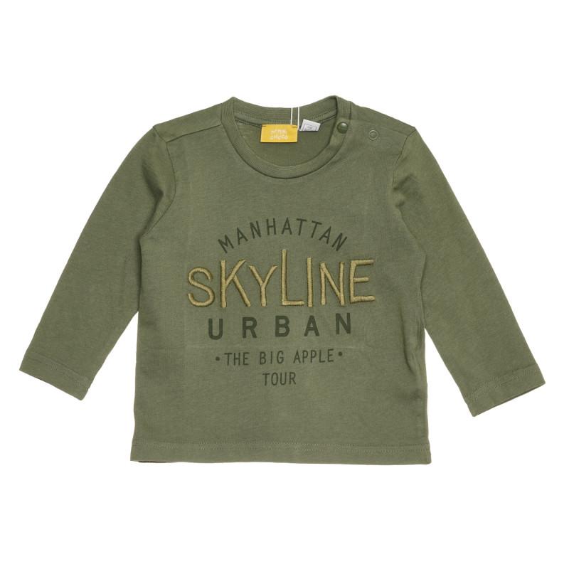 Памучна тениска SKYLINE за бебе, зелена  267845