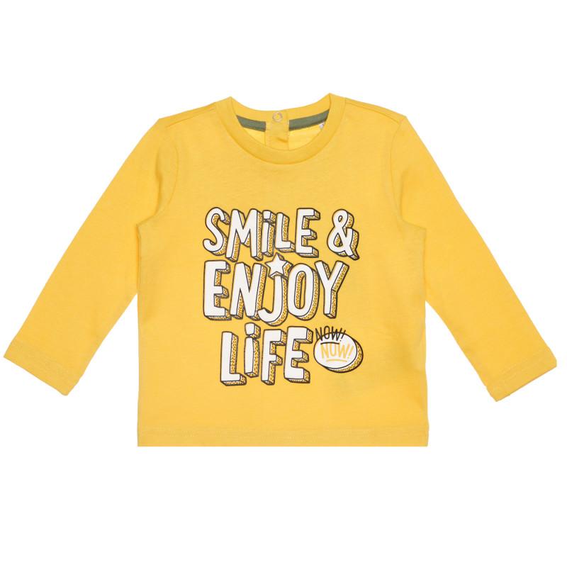 Памучна блуза SMILE & ENJOY LIFE за бебе, жълта  267861