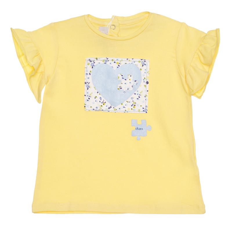 Памучна тениска за бебе, жълта  267873