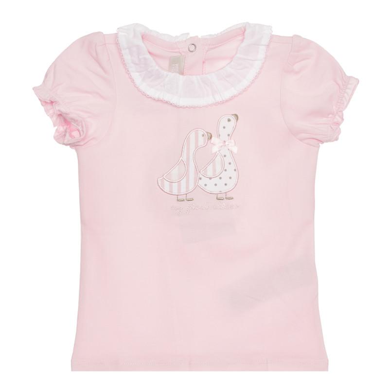 Памучна тениска с патета за бебе, розова  267881