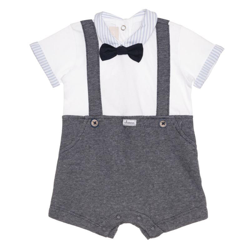 Памучен гащеризон с интересен дизайн за бебе в бяло и синьо  267897