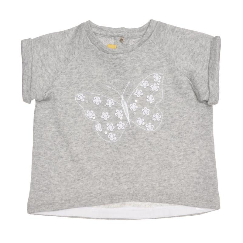 Памучна тениска с пеперуда за бебе, сива  267902