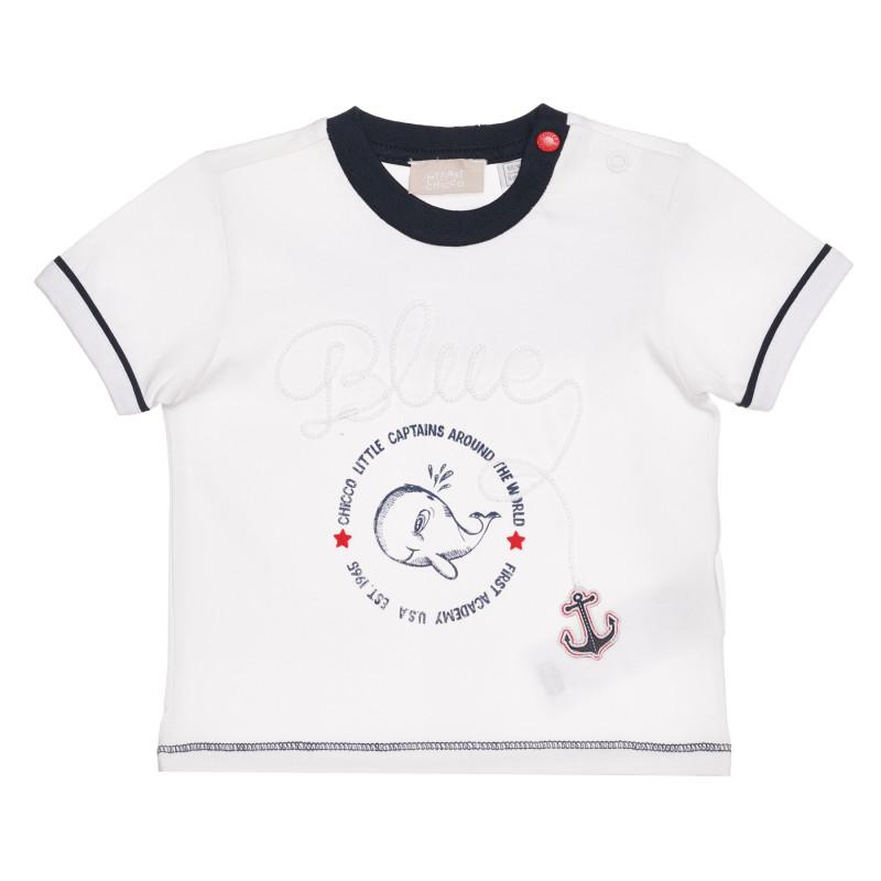 Памучна тениска с кит за бебе, бяла  267906
