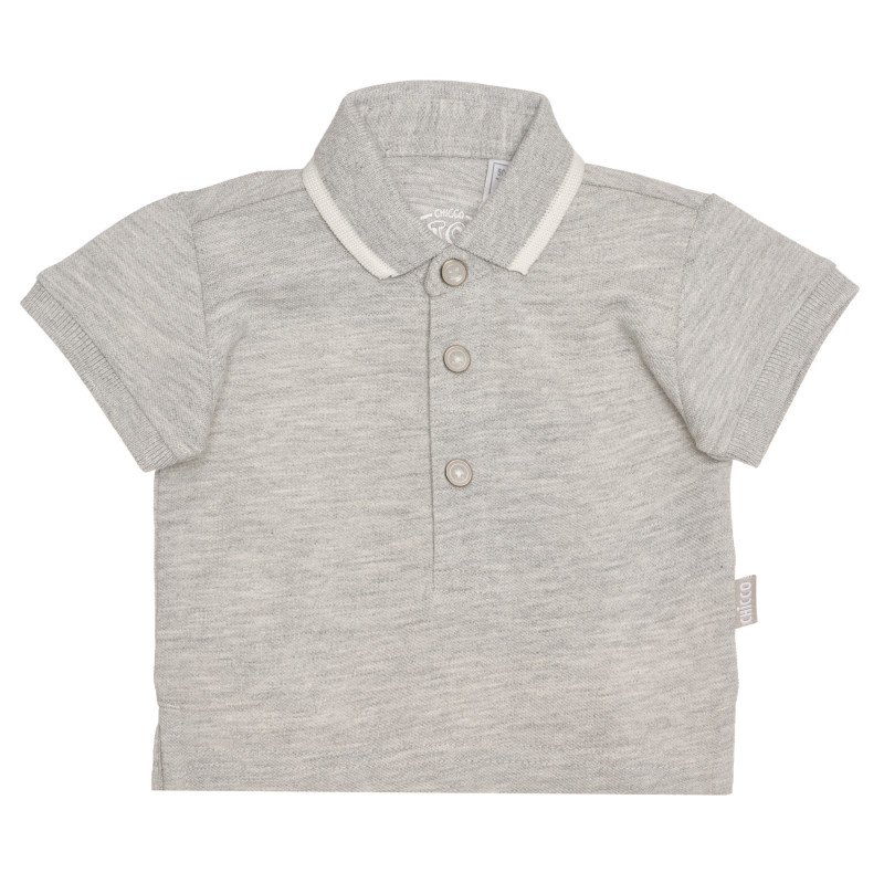 Памучна тениска с яка за бебе, сива  267910