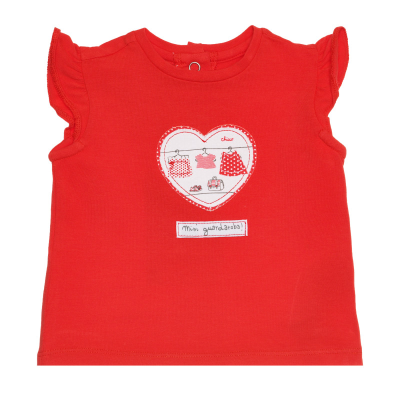 Памучна тениска със сърце за бебе, червена  267918
