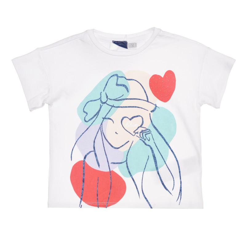 Памучна тениска с интересен принт, бяла  267926