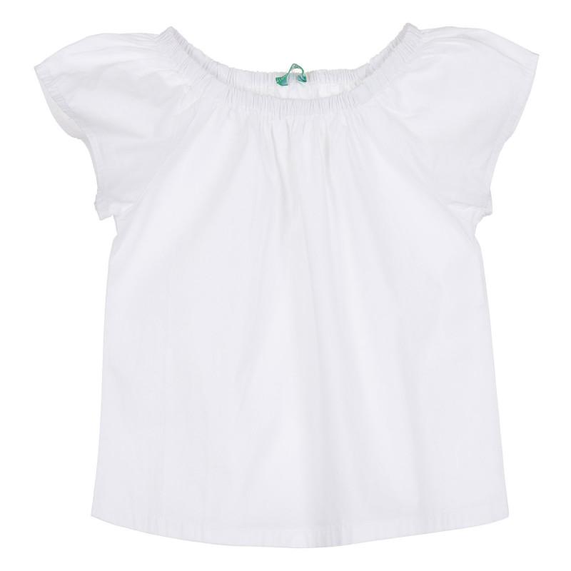 Памучна блуза с къс ръкав, бяла  268065