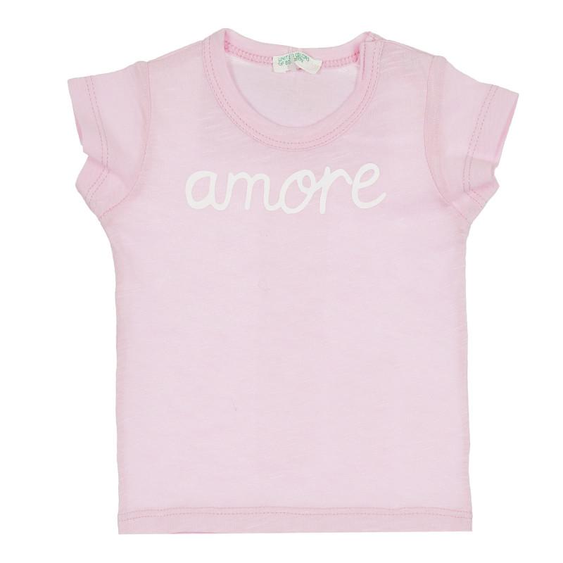 Памучна тениска с надпис Amore за бебе, розова  268068