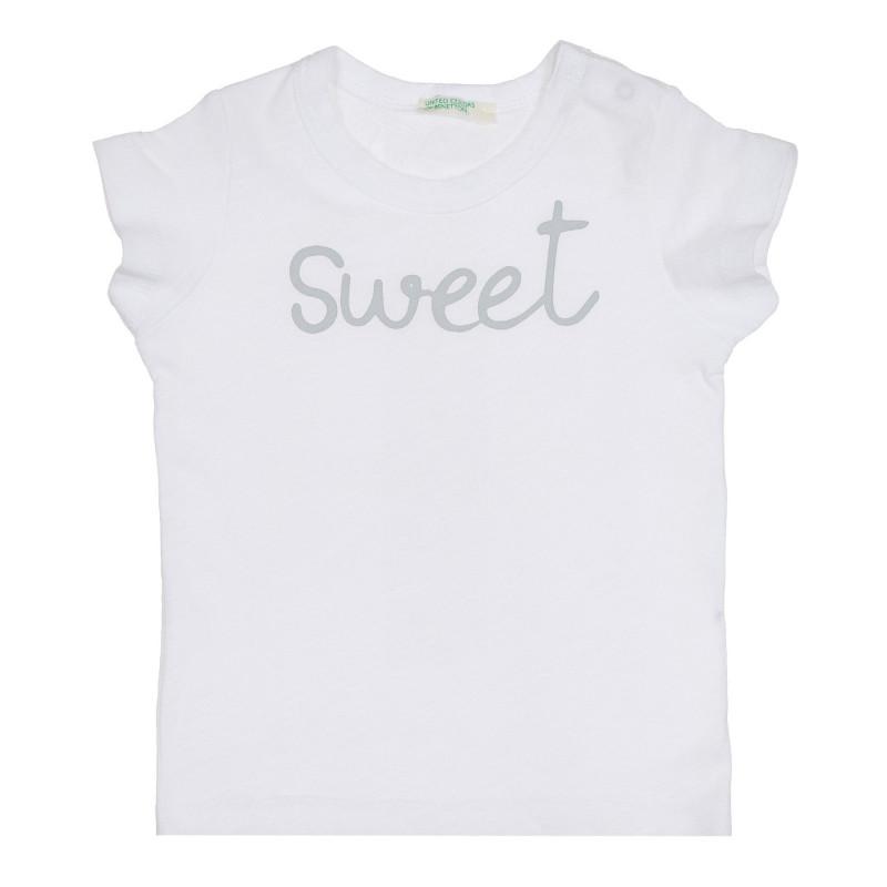 Памучна тениска с надпис Sweet за бебе, бяла  268076