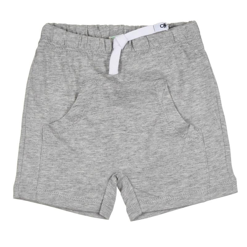 Памучен къс панталон за бебе, сив  268088