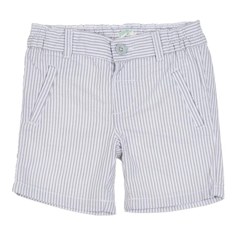 Памучен къс панталон в сиво и бяло райе за бебе  268094
