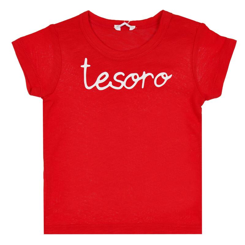 Памучна тениска за бебе, червена  268098