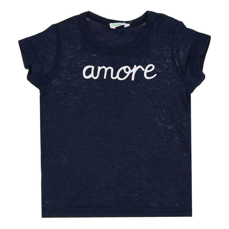 Памучна тениска с надпис Amore за бебе, тъмносиня  268110