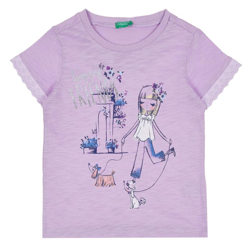 Памучна блуза с щампа Happy Friends, лилава  268125