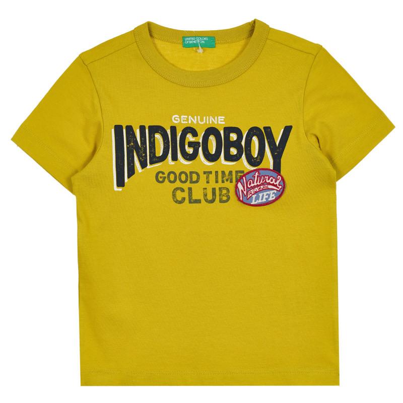 Памучна тениска с надпис Indigo boy за бебе, жълта  268150
