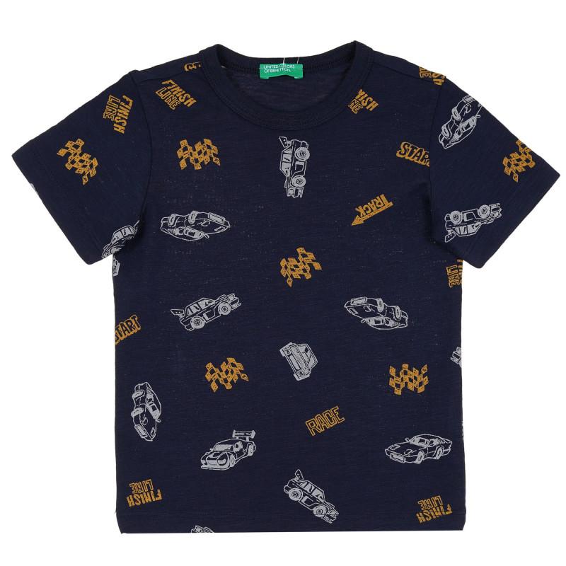 Памучна тениска с графичен принт за бебе, тъмносиня  268170