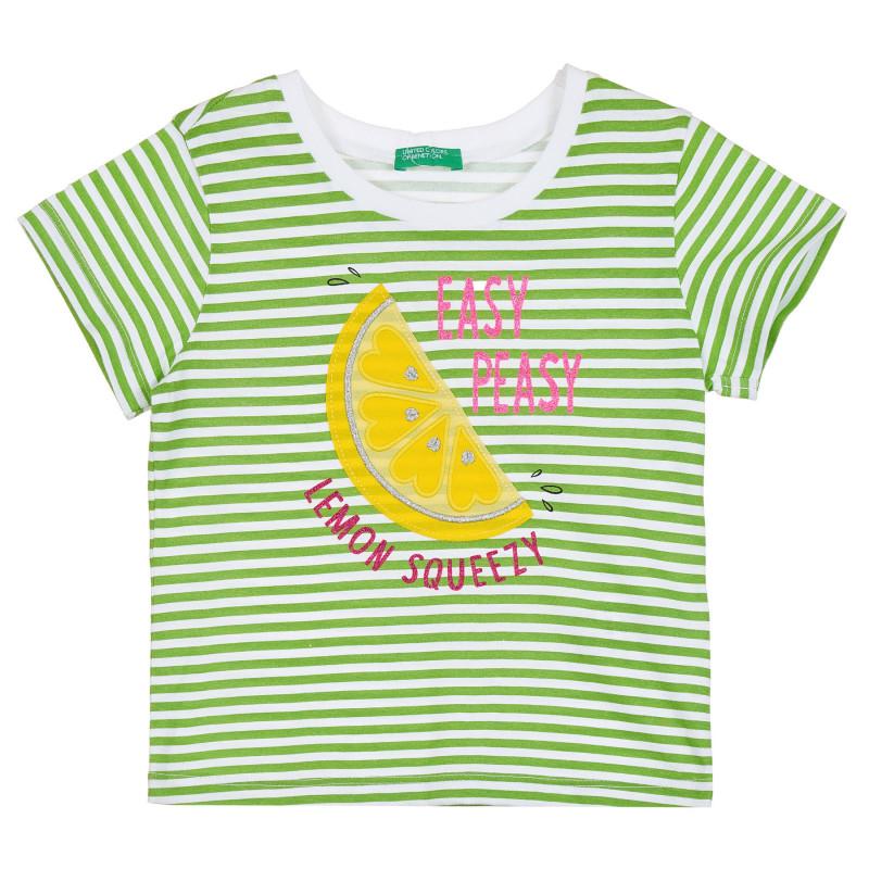 Тениска в зелено и бяло райе с апликация за бебе  268174
