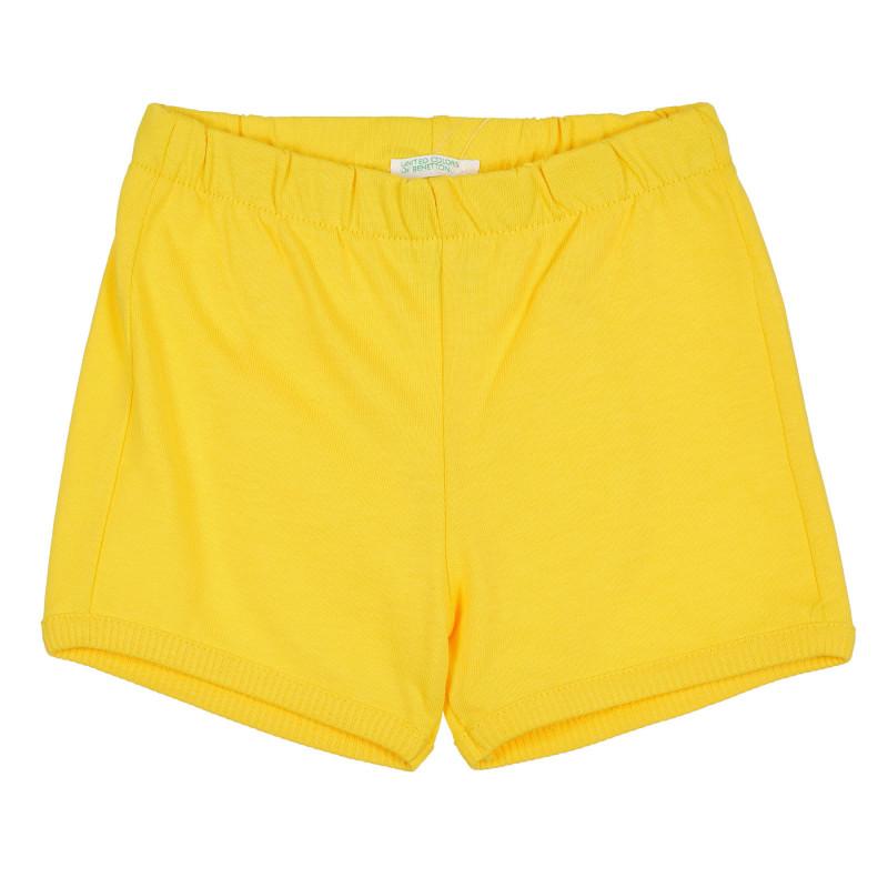 Къс панталон с апликация на мече за бебе, жълт  268192