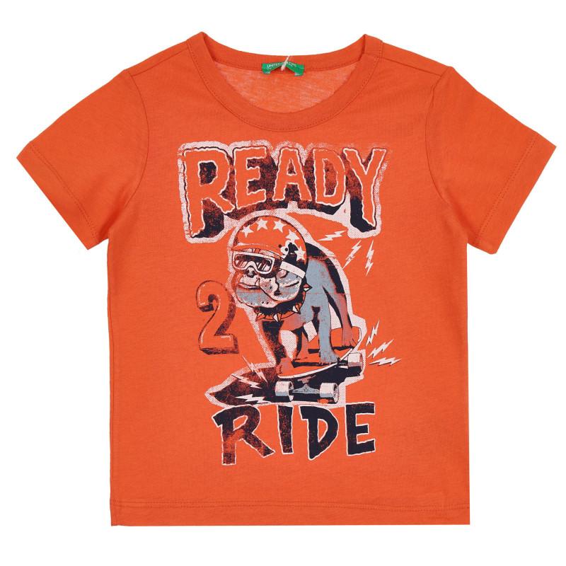 Памучна тениска с графичен принт, оранжева  268200