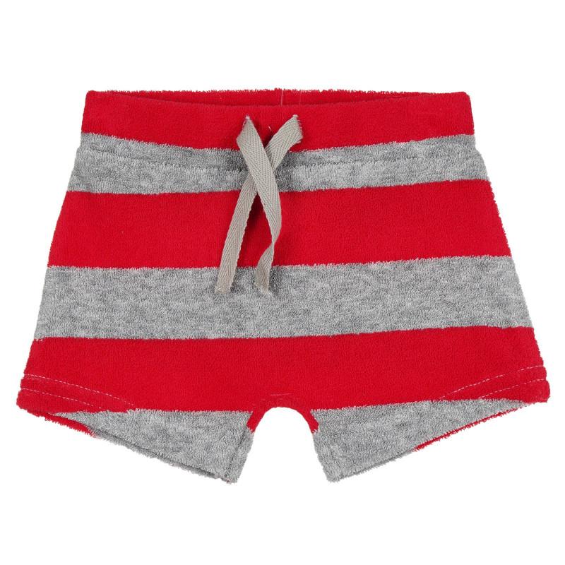 Хавлиени къси панталони в червено и сиво райе за бебе  268215