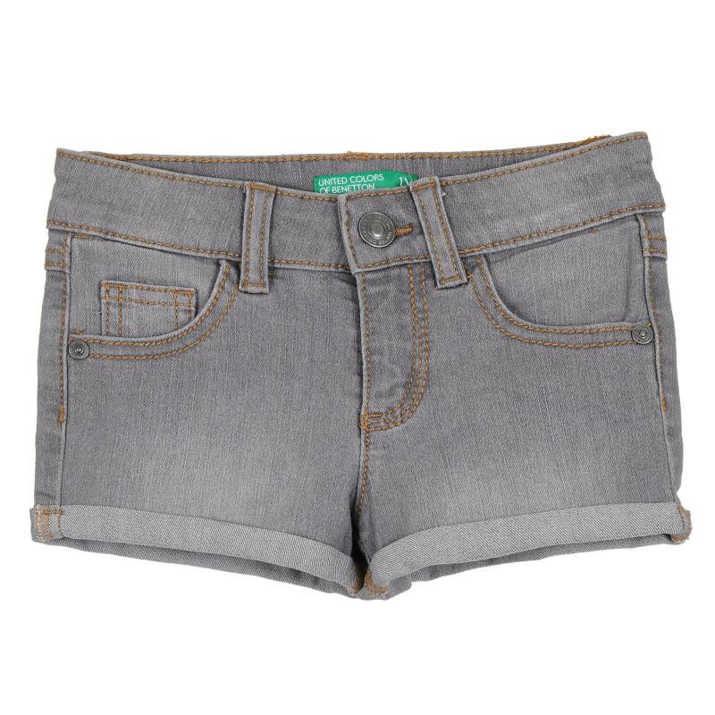 Дънков къс панталон с подгънати крачоли за бебе, сив  268222
