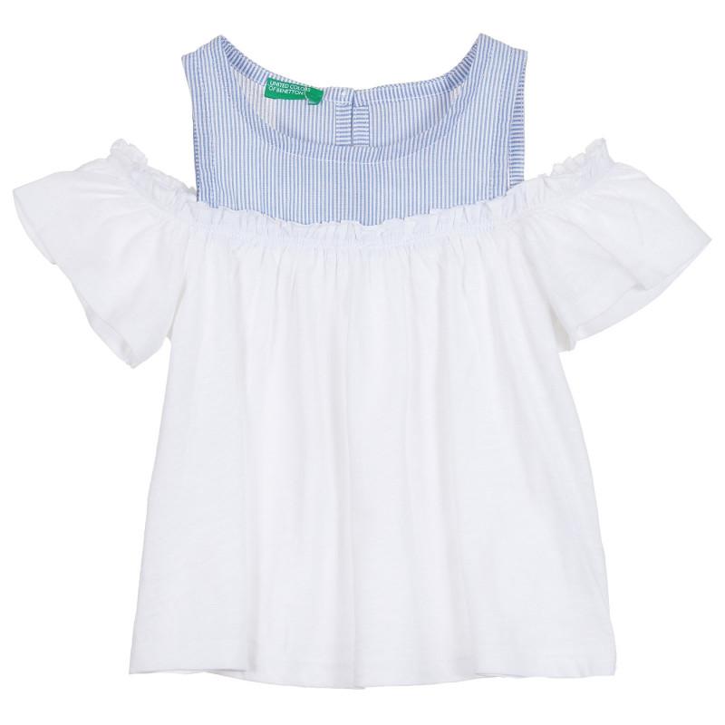 Памучна блуза с паднали ръкави, бяла  268226
