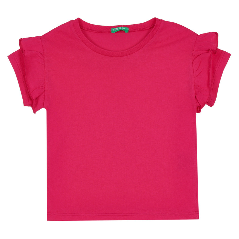Памучна блуза с къс ръкав и къдрички, розова  268234