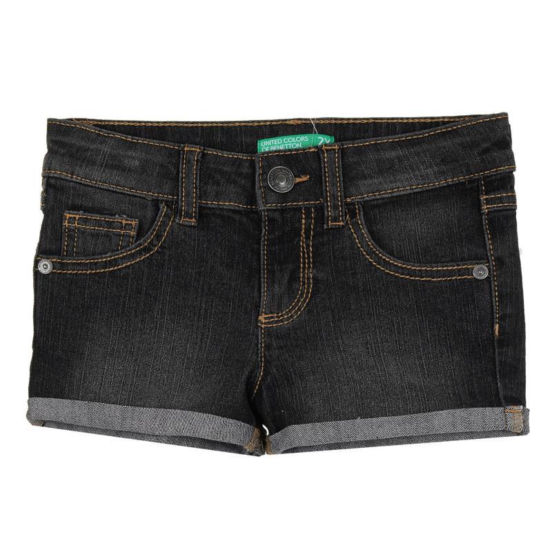 Дънков къс панталон с подгънати крачоли за бебе, тъмносив  268238