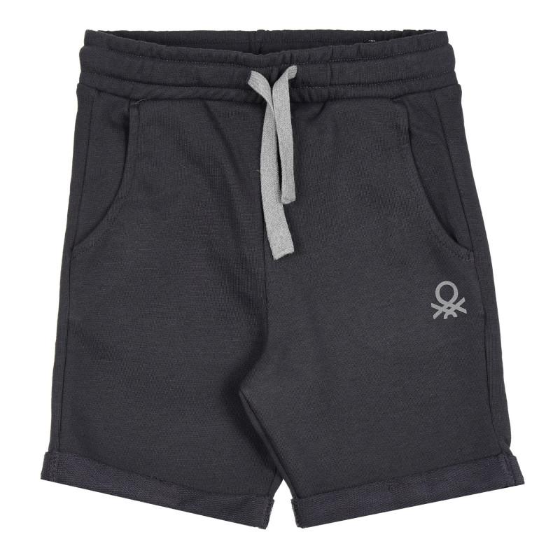 Памучен къс панталон с логото на бранда, тъмносив  268242