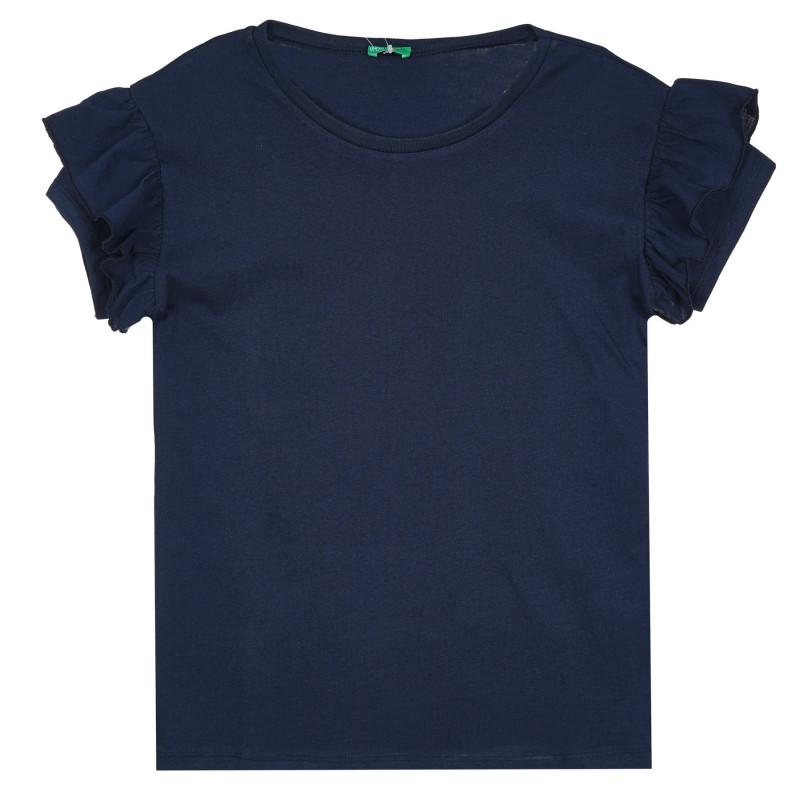 Памучна блуза с къс ръкав и къдрички, тъмносиня  268246