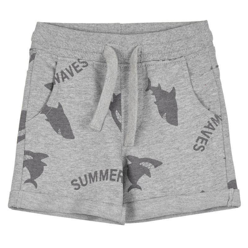 Памучен къс панталон с принт на акули за бебе, сив  268249