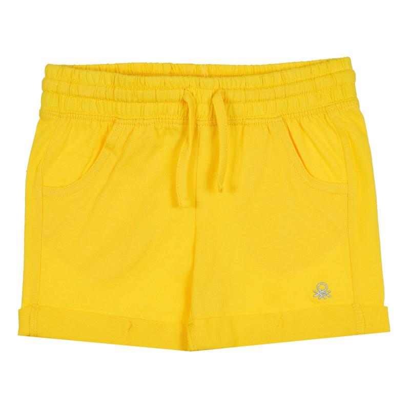 Памучен къс панталон с подгънати крачоли за бебе, жълт  268257