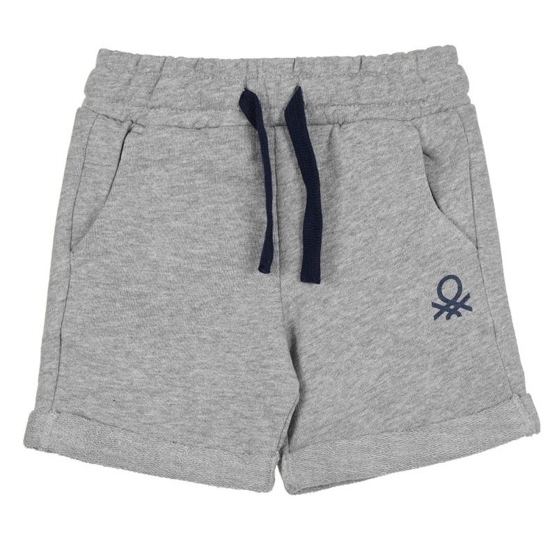 Памучен къс панталон с логото на бранда, светлосив  268261